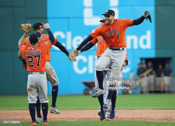 George Springer of the Houston Astros celebrates with teammates after defeating the Cleveland Indians 113 in Game Three of the American League...