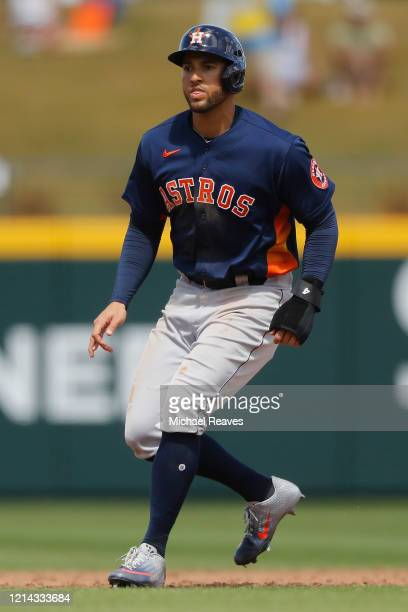 George Springer of the Houston Astros in action against the Atlanta Braves during a Grapefruit League spring training game at CoolToday Park on March...
