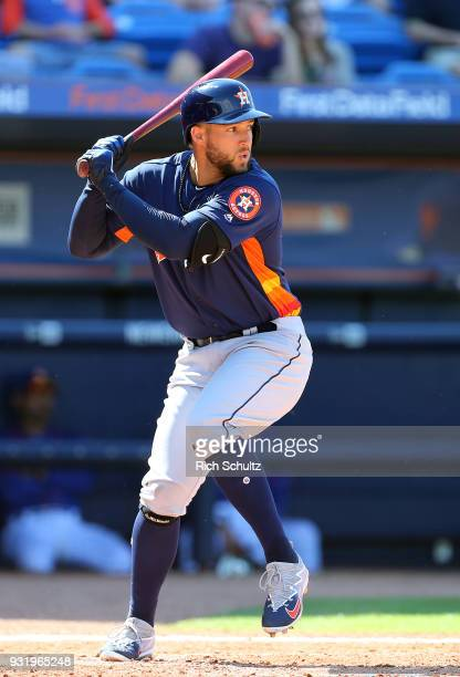 George Springer of the Houston Astros in action during a spring training game against the New York Mets at First Data Field on March 6 2018 in Port...