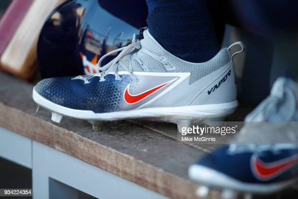 George Springer of the Houston Astros in his Nike vapor cleats during a spring training game against the Washington Nationals at FITTEAM Ballpark on...