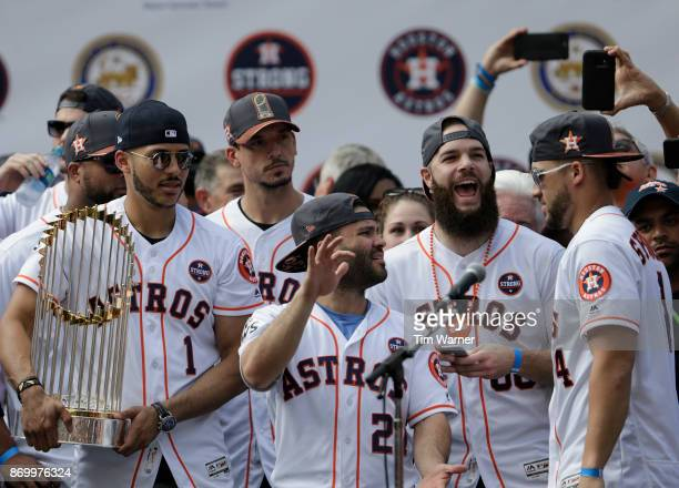 George Springer of the Houston Astros is introduced during the Houston Astros Victory Parade on November 3 2017 in Houston Texas The Astros defeated...