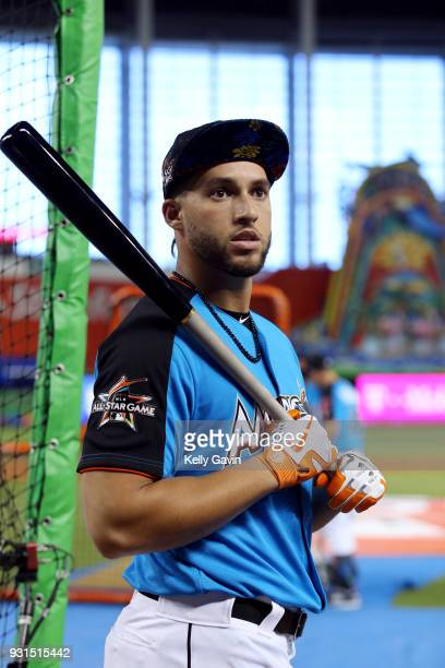 George Springer of the Houston Astros looks on during the Gatorade AllStar Workout Day at Marlins Park on Monday July 10 2017 in Miami Florida