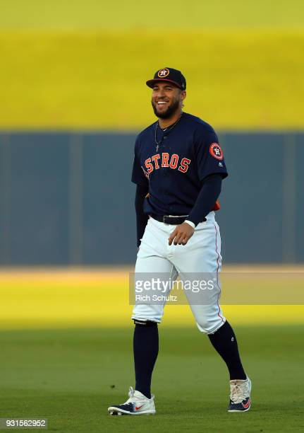 George Springer of the Houston Astros on the field before a spring training game against the St Louis Cardinals at FITTEAM Ball Park of the Palm...