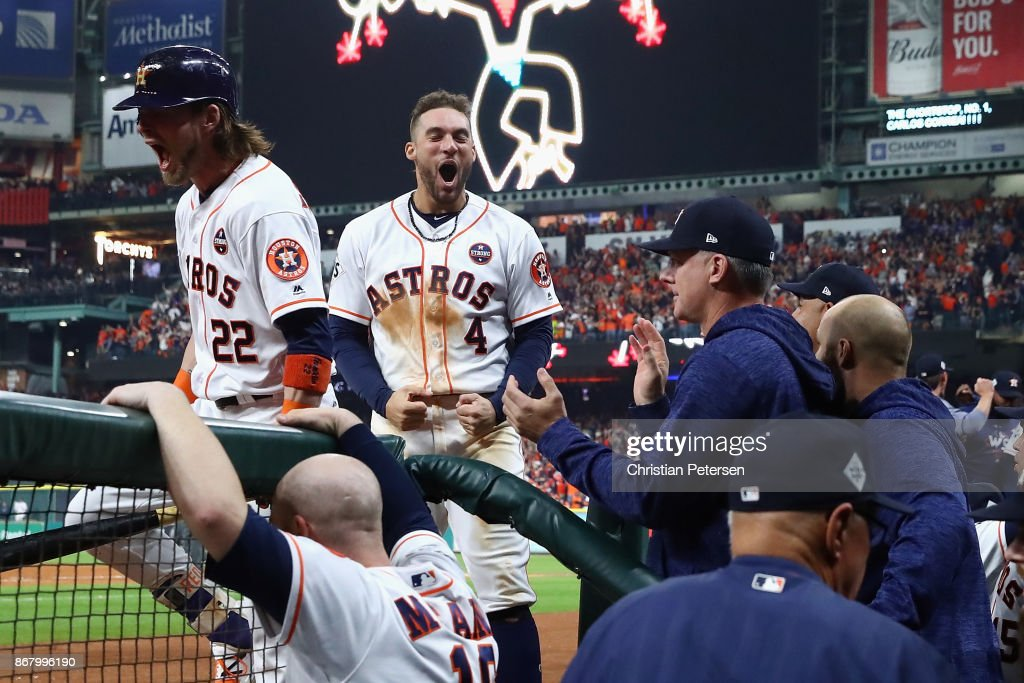 George Springer #4 of the Houston Astros reacts after a run during the seventh inning against the Los Angeles Dodgers in game five of the 2017 World Series at Minute Maid Park on October 29, 2017 in Houston, Texas.