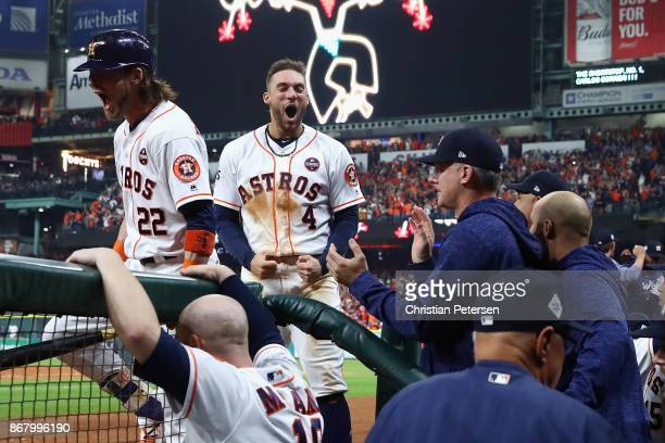 George Springer of the Houston Astros reacts after a run during the seventh inning against the Los Angeles Dodgers in game five of the 2017 World...