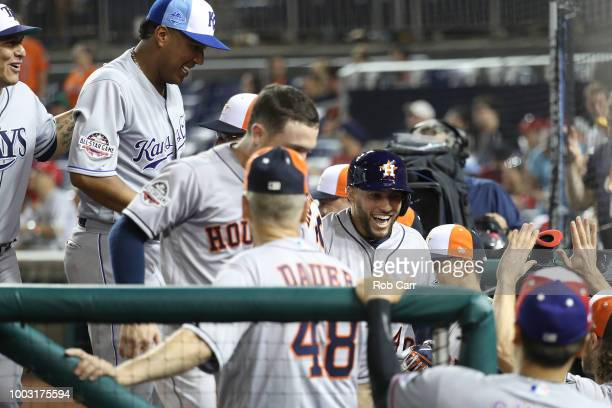 George Springer of the Houston Astros reacts to hitting a home run in the 10th inning during the 89th MLB AllStar Game presented by Mastercard at...