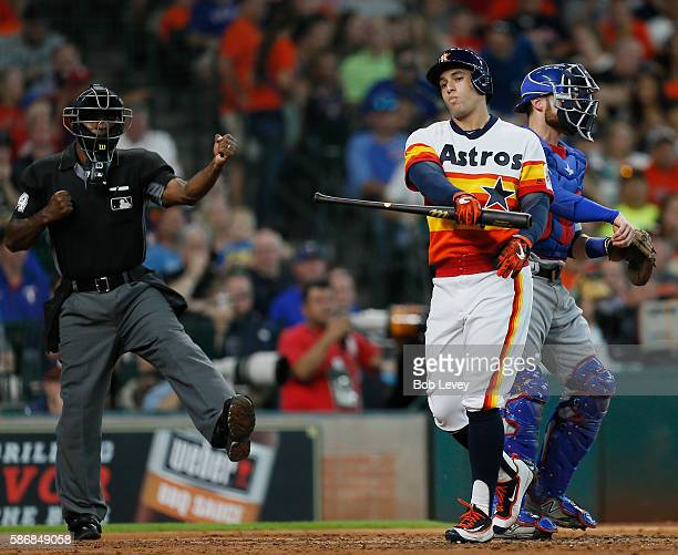 George Springer of the Houston Astros strikes out in the second inning against the Texas Rangers at Minute Maid Park on August 6 2016 in Houston Texas