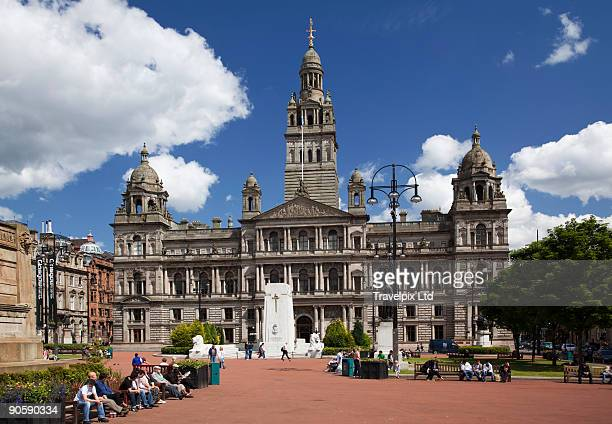 george square and city chambers - george square stock photos and pictures