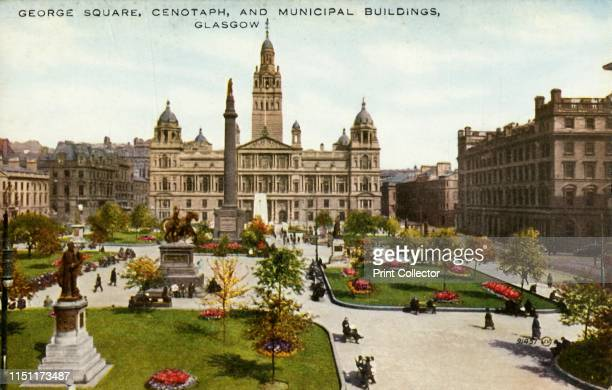 George Square Cenotaph and Municipal Buildings Glasgow' late 19thearly 20th century Public gardens in Glasgow Scotland with the monument to Sir...