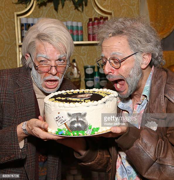 George St Geegland played by John Mulaney and Gil Faizon played by Nick Kroll celebrate 100 performances of their show 'Oh Hello on Broadway' on...