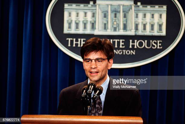 George Stefanopoulos political advisor to President Bill Clinton speaks to the press in the briefing room at the White House