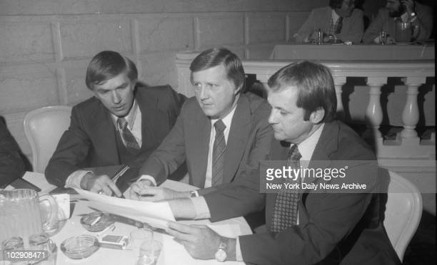 George Steinbrenner at press conference with Gene Michael and new manager Dick Howser