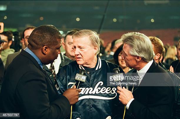 George Steinbrenner of the New York Yankees talks to the media following Game Five of the World Series against the New York Mets on October 26 2000...