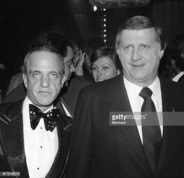 George Steinbrenner owner of the World Champion New York Yankees appears with attorney Roy Cohn during a Yankee victory party at Studio 54