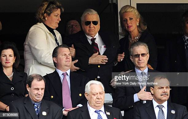 George Steinbrenner takes in opening festivities with daughers Jessica and Jennifer during Opening Day Yankees lost to the Cleveland Indians 102