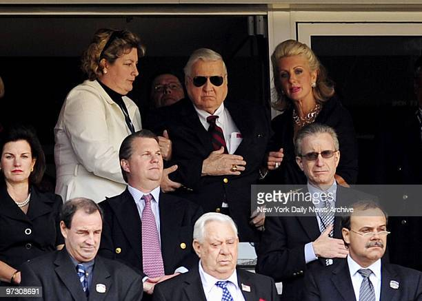 George Steinbrenner takes in opening festivities with daughters Jessica and Jennifer Steinbrenner during Opening Day Yankees lost to the Cleveland...