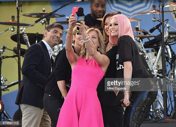 """George Stephanopoulos, Amy Robach, Lara Spencer, Ginger Zee, and Jesse J take a picture on ABC's """"Good Morning America"""" at Rumsey Playfield, Central..."""