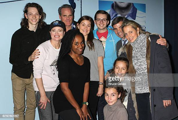 George Stephanopoulos and Alexandra Wentworth pose with the cast backstage at the hit musical Dear Evan Hansen on Broadway at The Music Box Theatre...