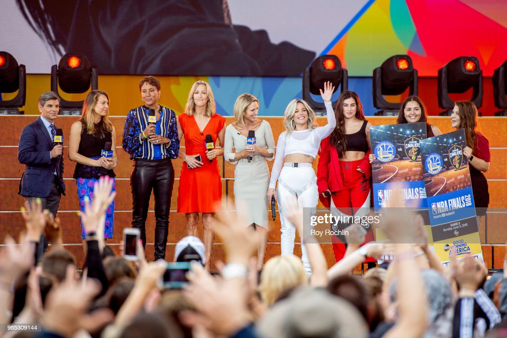 George Stephanopoulos, Ginger Zee, Robin Roberts, Lara Spencer, Amy Robach, Halesy, Lauren Jauregui on stage as Halesy performs on ABC's 'Good Morning America' at SummerStage at Rumsey Playfield, Central Park on June 1, 2018 in New York City.