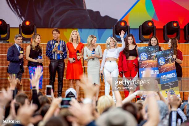 """George Stephanopoulos, Ginger Zee, Robin Roberts, Lara Spencer, Amy Robach, Halesy, Lauren Jauregui on stage as Halesy performs on ABC's """"Good..."""