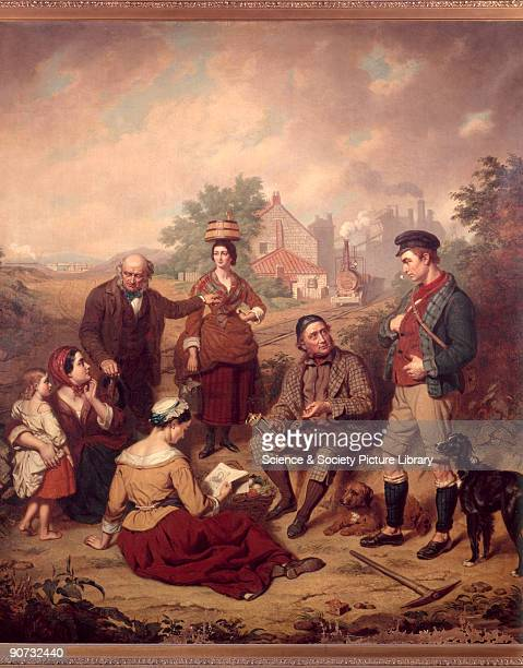 George Stephenson English railway engineer and family Oil painting by an unknown artist of Stephenson and family with a colliery and early colliery...