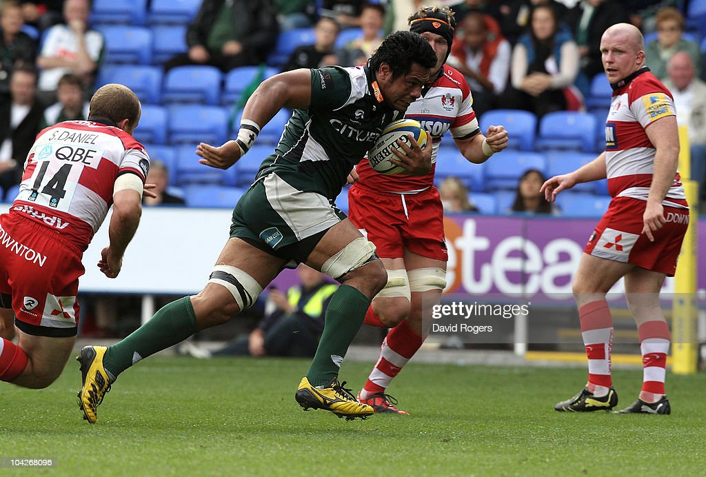 George Stowers of London Irish charges upfield during the Aviva Premiership match between London Irish and Gloucester at the Madejski Stadium on September 19, 2010 in Reading, England.