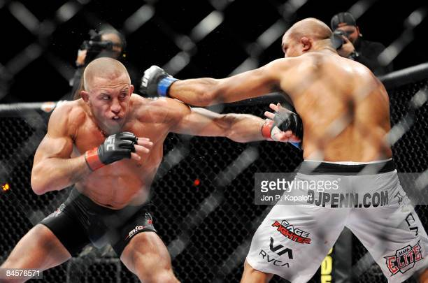 George StPierre of Canada battles BJ Penn of USA during the UFC 94 Welterweight Championship bout at the MGM Grand Garden Arena on January 31 2009 in...