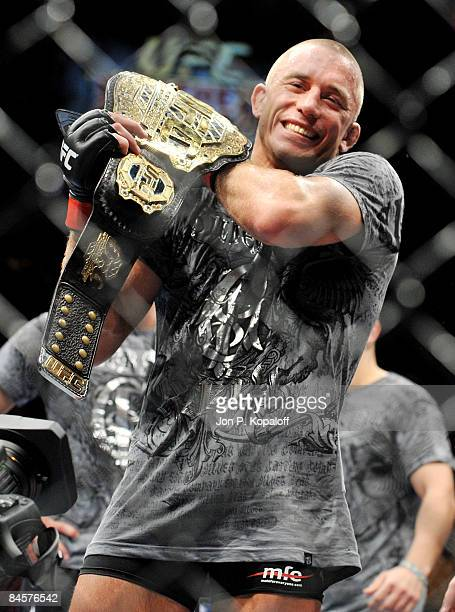 George StPierre of Canada celebrates after defeating BJ Penn of USA during the UFC 94 Welterweight Championship bout at the MGM Grand Garden Arena on...