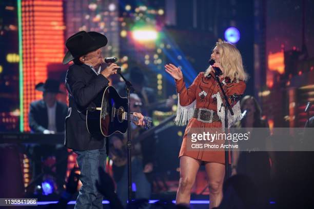 George Strait and Miranda Lambert perform during the 54TH ACADEMY OF COUNTRY MUSIC AWARDS to broadcast LIVE from MGM Grand Garden Arena in Las Vegas...