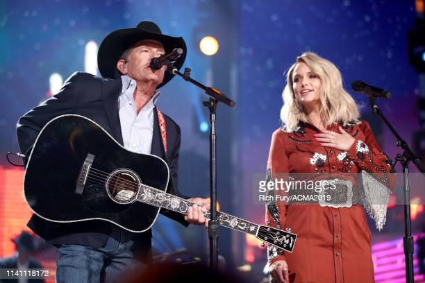 George Strait and Miranda Lambert perform onstage during the 54th Academy Of Country Music Awards at MGM Grand Garden Arena on April 07 2019 in Las...