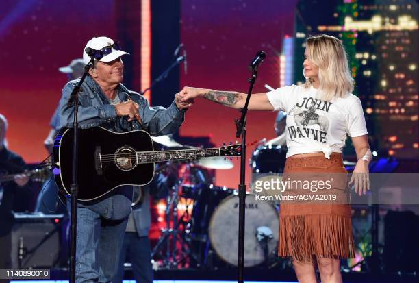 George Strait and Miranda Lambert rehearse onstage during the 54th Academy Of Country Music Awards at MGM Grand Garden Arena on April 06 2019 in Las...