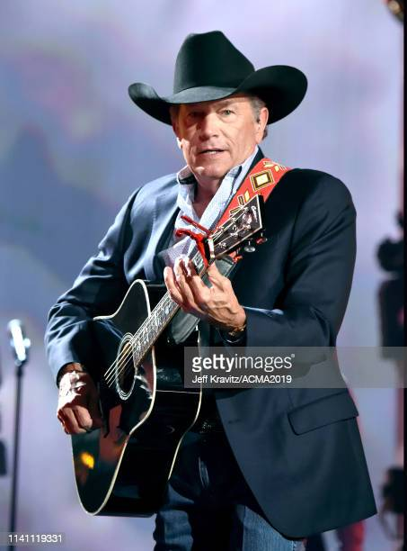 George Strait performs during the 54th Academy Of Country Music Awards at MGM Grand Garden Arena on April 07 2019 in Las Vegas Nevada