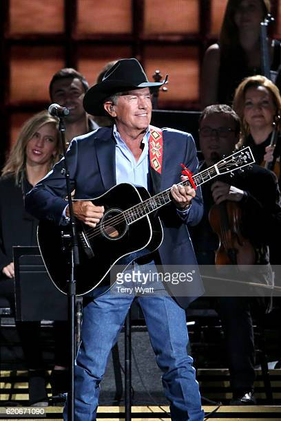 George Strait performs onstage at the 50th annual CMA Awards at the Bridgestone Arena on November 2 2016 in Nashville Tennessee