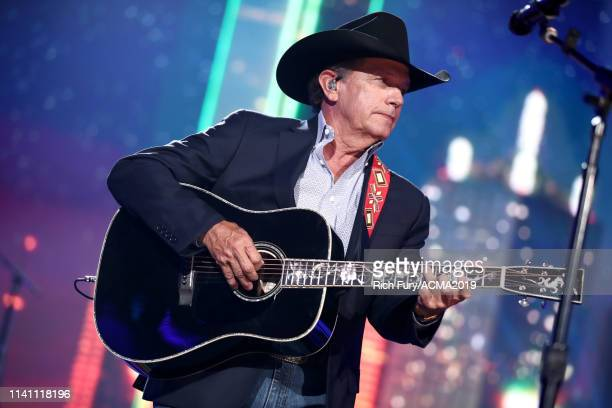 George Strait performs onstage during the 54th Academy Of Country Music Awards at MGM Grand Garden Arena on April 07 2019 in Las Vegas Nevada