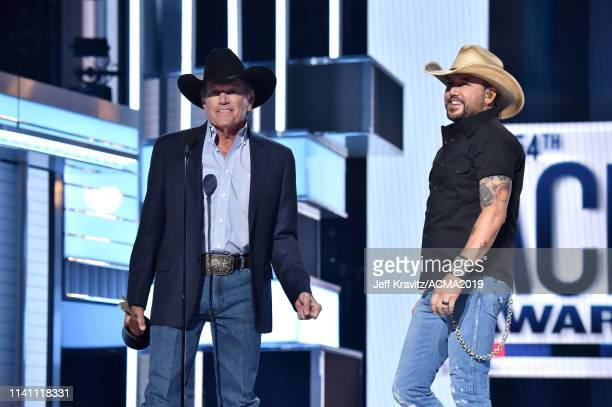George Strait presents the ACM Dick Clark Artist of the Decade Award to Jason Aldean onstage during the 54th Academy Of Country Music Awards at MGM...