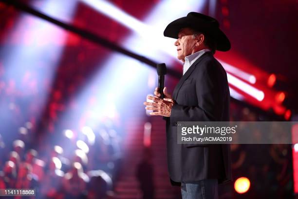 George Strait speaks onstage during the 54th Academy Of Country Music Awards at MGM Grand Garden Arena on April 07 2019 in Las Vegas Nevada