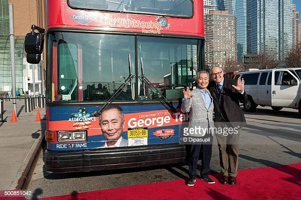 George Takei and Brad Takei attend the George Takei Ride of Fame Induction Ceremony on December 10 2015 in New York City