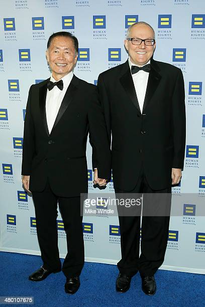 George Takei and Brad Takei attend the Human Rights Campaign Los Angeles Gala dinner at JW Marriott Los Angeles at LA LIVE on March 22 2014 in Los...