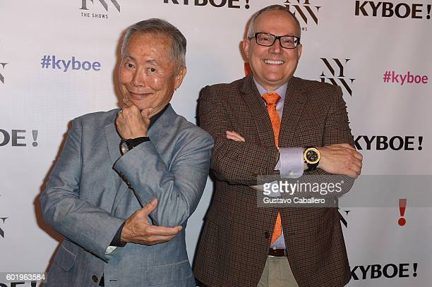 George Takei and Brad Takei pose backstage at the KYBOE fashion show during New York Fashion Week The Shows at The Arc Skylight at Moynihan Station...