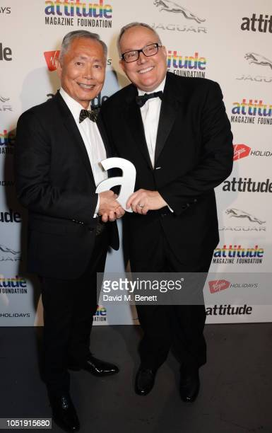 George Takei and Brad Takei pose in the winners room at The Virgin Holidays Attitude Awards at The Roundhouse on October 11 2018 in London England