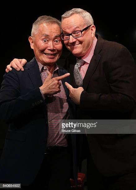 George Takei and husband Brad Takei pose as George Takei is the latest actor to perform in the new play White Rabbit Red Rabbit at The Westside...