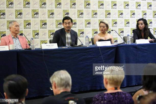George Takei Derek Mio Kiki Sukezane and Cristina Rodlo attend The Terror Infamy Press Conference at Comic Con 2019 on July 19 2019 in San Diego...