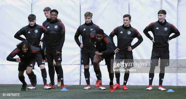 George Tanner Lee O'Connor James Garner Ethan Laird Angel Gomes and Brandon Williams of Manchester United U19s in action during a training session at...