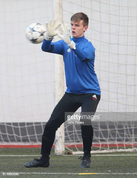 George Tanner of Manchester United U19s in action during a training session at Vozdovac Stadium on February 6 2018 in Belgrade Serbia