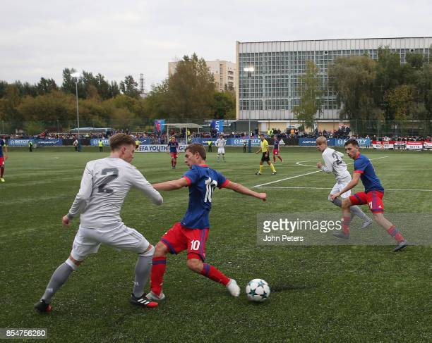 George Tanner of Manchester United U19s in action during the UEFA Youth League match between CSKA Moskva U19s and Manchester United U19s at Oktyabr...