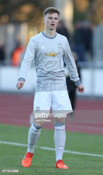 George Tanner of Manchester United U19s in action during the UEFA Youth League match between FC Basel U19s and Manchester United U19s at...