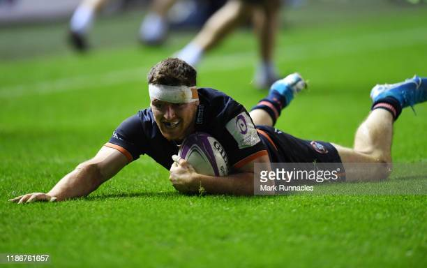 George Taylor of Edinburgh Rugby scores a try late in the second half during the European Rugby Challenge Cup Round 3 match between Edinburgh Rugby...