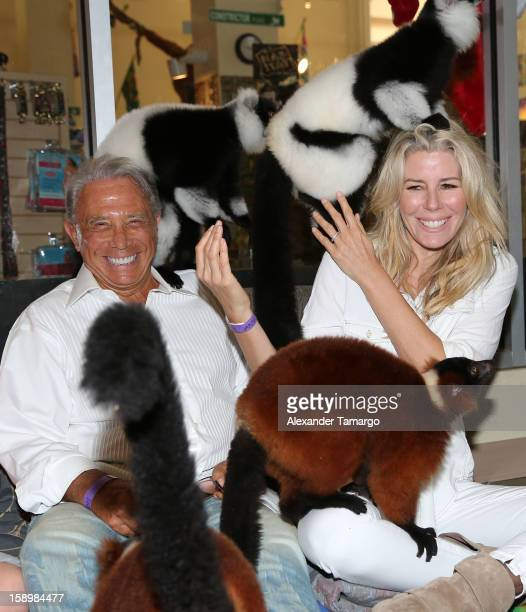 George Teichner and Aviva Drescher are seen during the Jungle Island VIP Safari Tour at Jungle Island on January 4 2013 in Miami Florida