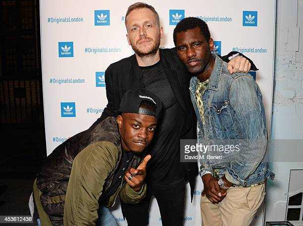 George The Poet Mr Hudson and Wretch 32 attend the launch of the new adidas Originals London Flagship store at 15 Foubert's Place on August 14 2014...