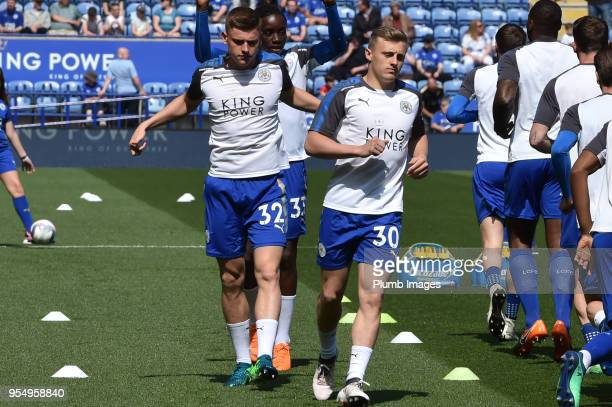 George Thomas and Harvey Barnes of Leicester City before the Premier League match between Leicester City and West Ham United at The King Power...
